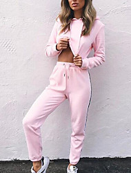 cheap -Women's Daily Going out Cute Casual Solid Hooded Pant Regular Winter Fall