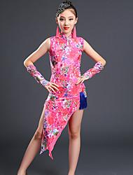 baratos -Devemos vestir-se de dança latina desempenho infantil padrão de spandex / impressão vestidos altos sem mangas