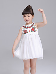 cheap -Girl's Daily Embroidered Dress,Polyester Summer Sleeveless Lace White