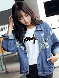 cheap -Women's Daily Simple Casual Fall Denim Jacket,Print Shirt Collar Long Sleeve Short Cotton