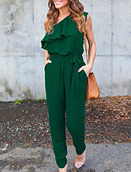 Women's Daily Casual Sexy Solid Color Block One Shoulder Jumpsuits,Slim Summer Fall
