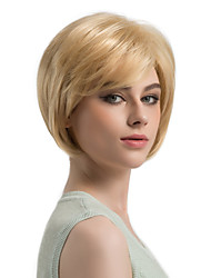 cheap -Synthetic Wig Straight Blonde Bob Haircut / Layered Haircut Synthetic Hair Side Part Blonde Wig Women's Short Capless Strawberry Blonde / Light Blonde