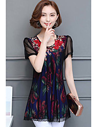 Women's Casual/Daily Sophisticated Blouse,Floral Print Round Neck Short Sleeves Polyester