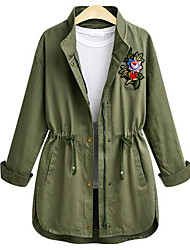 preiswerte -Damen Solide Druck Street Schick Alltag Mantel,Rundhalsausschnitt Herbst Langärmelige Standard Polyester