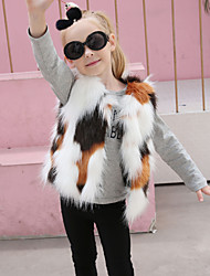 Girls' Patchwork Jacket & Coat,Wool Rabbit Fur Raccoon Fur Winter Fall Sleeveless Rainbow