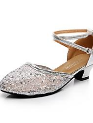 billiga -Dam Moderna skor Spets / Glitter Högklackade Spänne Kubansk klack Dansskor Guld / Svart / Silver / Professionella