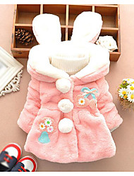 cheap -Girls' Color Block Jacket & Coat,Others Winter Long Sleeve White Blushing Pink