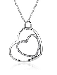 Women's Pendant Necklaces Diamond Heart Sterling Silver Hypoallergenic Jewelry For Gift Evening Party