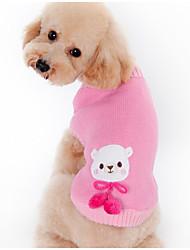 economico -Cane Maglioni Abbigliamento per cani Caldo Casual Cartoni animati Caffè Rosa Costume Per animali domestici