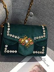 Women Bags Velvet Crossbody Bag Zipper for Casual All Seasons Blue Black Red Gray Dark Green