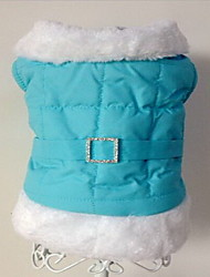 Chien Manteaux Vêtements pour Chien Garder au chaud Solide Bleu Rose Costume Pour les animaux domestiques