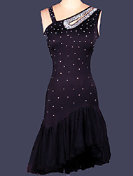 cheap -Latin Dance Women's Performance Spandex Crystals/Rhinestones Sleeveless Natural Dress