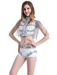 cheap -Jazz Outfits Women's Performance Spandex Tassel Sleeveless Dropped Top Pants