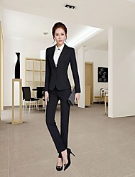 cheap -Women's Daily Casual Winter Fall Shirt Pant Suits,Solid Shirt Collar Long Sleeve Stretch Yarn Micro-elastic