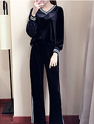 cheap -Women's Sports Holiday Casual Fall Hoodie Pant Suits,Striped V Neck Long Sleeve Others Micro-elastic