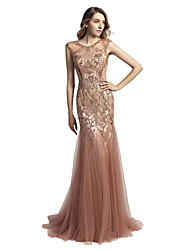 cheap -Mermaid / Trumpet Jewel Neck Court Train Tulle Prom / Formal Evening Dress with Beading Sequin by LAN TING Express