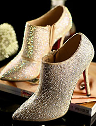 Women's Shoes PU Leather Fall Winter Basic Pump Heels Flat Heel Booties/Ankle Boots For Casual Gold