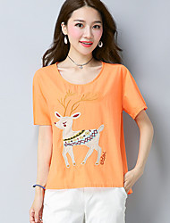 Women's Going out Casual/Daily Chinoiserie Summer T-shirt,Embroidery Round Neck Short Sleeves Linen Thin