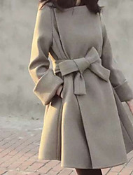 Cappotto Da donna Feste Casual Semplice Sensuale Autunno Inverno,Tinta unita Squadrata Cashmere Lana Cotone Standard Manica lunga