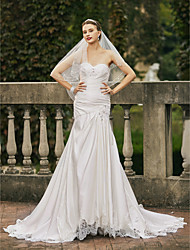 cheap -Mermaid / Trumpet Sweetheart Chapel Train Satin Wedding Dress with Beading Appliques Side-Draped by LAN TING BRIDE®
