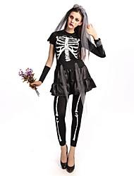 economico -Scheletro / Teschio Sposa spettrale Completi Donna Halloween Giorno della morte Feste / vacanze Costumi Halloween Nero Collage