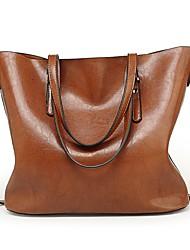cheap -Women's Bags PU Tote Zipper for Casual All Seasons Brown Wine