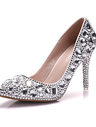 cheap -Women's Shoes PU Spring Fall Comfort Novelty Wedding Shoes Pointed Toe Rhinestone Crystal Applique For Wedding Party & Evening White
