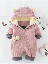 cheap -Baby Solid Color One-Pieces,Polyester Winter Fall Brown Blushing Pink Gray