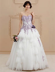 A-Line Sweetheart Chapel Train Satin Wedding Dress with Beading Appliques Flower by Ed Bridal