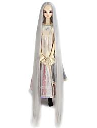 abordables -Pelucas sintéticas Liso Natural Pelo sintético Gris Peluca Mujer Muy largo Sin Tapa / peluca de la muñeca