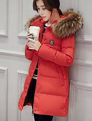Manteau Doudoune Femme Mignon Chic de Rue Sortie Décontracté / Quotidien Couleur Pleine-Polyester Duvet de Canard Blanc Polypropylène