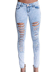 cheap -Women's Jeans Pants - Solid Colored, Ripped