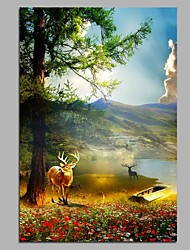 cheap -Reindeer and Lake 100% Hand Painted Contemporary Oil Paintings Modern Artwork Wall Art for Room Decoration