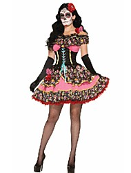 Uniforms One-Piece/Dress Cosplay Costumes Female Halloween Day of the Dead Festival/Holiday Halloween Costumes Golden Black Pink Red Blue
