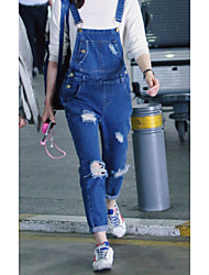economico -Da donna A vita medio-alta Casual Media elasticità Taglia piccola Jeans Tuta da lavoro Pantaloni,Tinta unita Altro Primavera Autunno