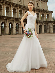 cheap -Mermaid / Trumpet V-neck Sweep / Brush Train Lace Tulle Wedding Dress with Beading Appliques by LAN TING BRIDE®