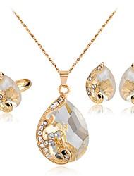 Women's Stud Earrings Necklace Crystal Rhinestone Luxury Fashion Wedding Party Crystal Rhinestone Drop Necklace Earrings Ring