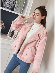 cheap -Women's Going out Cute Winter Coat,Solid Peaked Lapel Regular Faux Fur Polyester