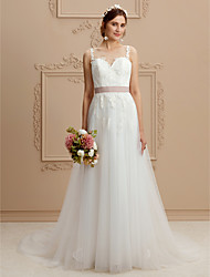 cheap -A-Line Jewel Neck Court Train Lace Tulle Wedding Dress with Appliques Sashes/ Ribbons by LAN TING BRIDE®