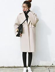 preiswerte -Damen Solide Einfach Lässig/Alltäglich Mantel,Hemdkragen Herbst Winter Lange Ärmel Lang Nylon