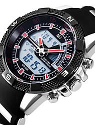 abordables -Hombre Reloj Casual Japonés Cuarzo Despertador Calendario Cronógrafo Resistente al Agua Dos Husos Horarios Cronómetro Noctilucente