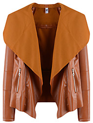 cheap -Women's Daily Simple Casual Fall Leather Jacket,Solid Shawl Lapel Long Sleeve Short Polyester