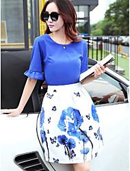 preiswerte -Damen Bluse - Solide Blumen Rock