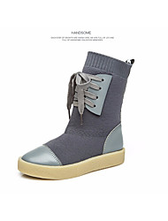 Girls' Shoes Knit Fall Winter Combat Boots Boots Mid-Calf Boots Lace-up For Casual Gray Black