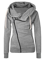 cheap -Women's Daily Going out Casual Active Sexy Hoodie Jacket Solid Hooded Without Lining Micro-elastic Polyester Winter Fall