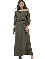 abordables -Femme Grandes Tailles Ample Robe Couleur Pleine Taille basse Bateau Maxi