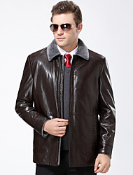 cheap -Men's Daily Simple Casual Winter Fall Leather Jackets,Solid Shirt Collar Long Sleeve Regular Lambskin