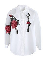 cheap -Women's Daily Going out Street chic Spring Summer Shirt,Embroidery Shirt Collar Long Sleeves Others Medium