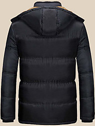 cheap -Men's Regular Padded Coat,Casual Daily Going out Solid-Polyester Polyester Long Sleeves Hooded