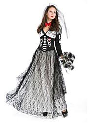 abordables -Bloody Mary Mariée Tenue Femme Halloween Le jour des morts Fête / Célébration Déguisement d'Halloween Noir Rayure Rétro